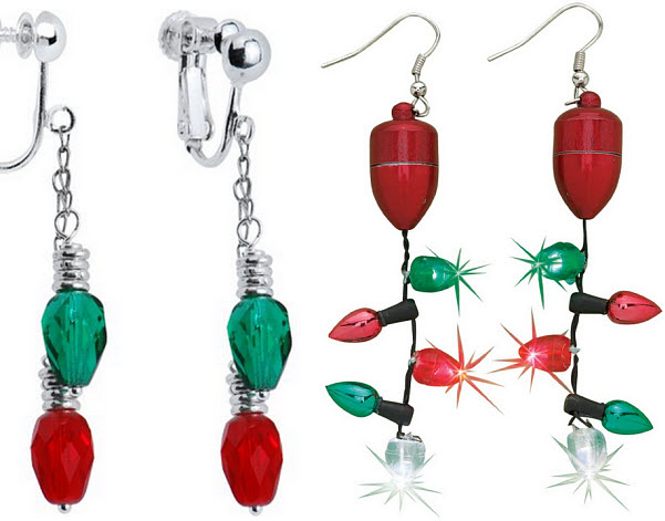 christmas light earrings pictured left red green christmas lights clip