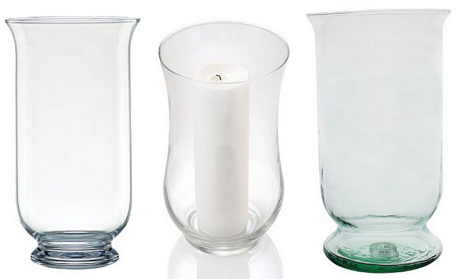 Large glass hurricane candle holder