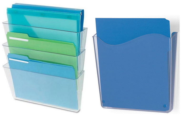 Plastic wall-mounted file holders