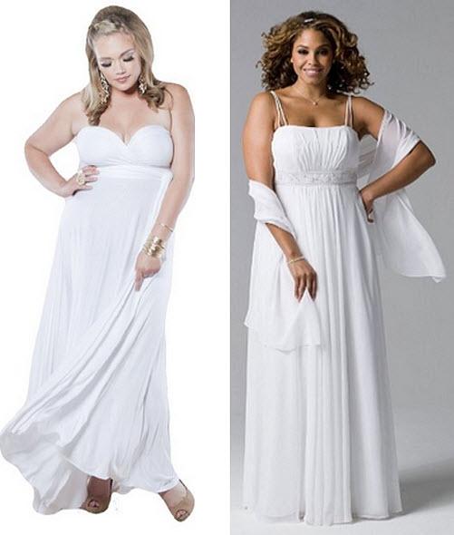 Plus-size white formal maxi dress