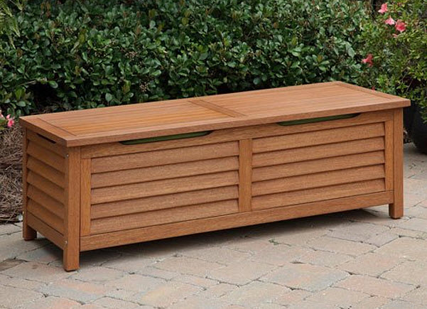 Wooden deck storage box
