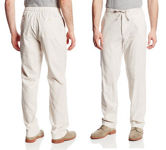 Mens white linen drawstring pants