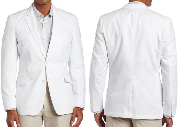 Mens white linen sport coat