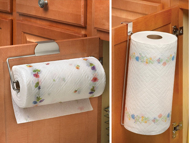 Paper towel holder for cabinet door