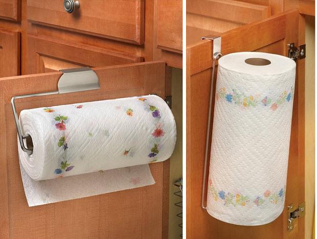 Paper towel holder for cabinet door