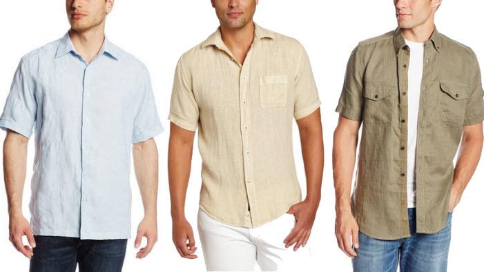 Mens short sleeve linen shirt
