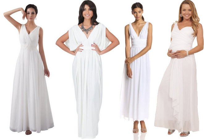 White V-neck maxi dress