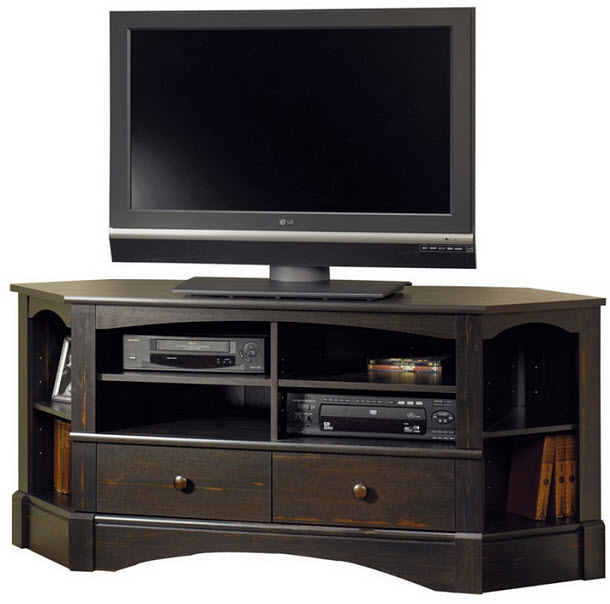 Corner TV stand with drawers