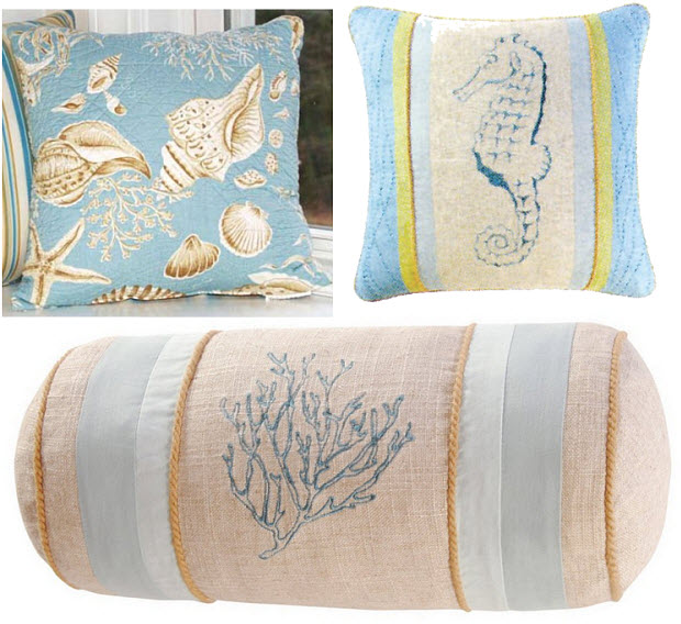 Beach-themed throw pillows