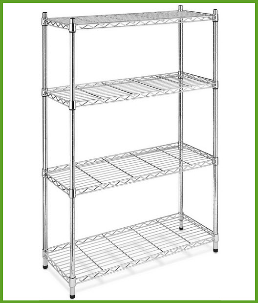 Chrome wire shelving unit